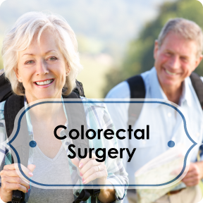 colorectal surgery info button; older man and women hiking