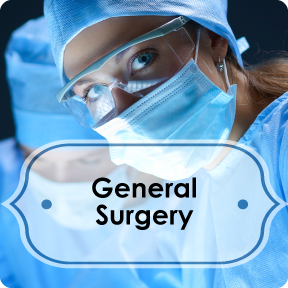 general surgery info button; female surgeon in scrubs