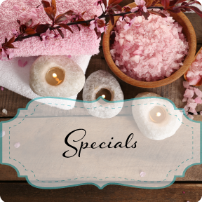 Spa Specials: image of spa candles, towels and bath salts