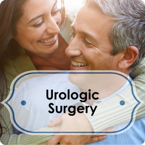 urologic surgery info button; middle-aged man and woman