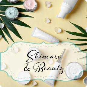 Skincare and Beauty: image of yellow background with scattered skincare products